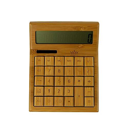 Bamboo King - Taschenrechner, Tischrechner | Taschenrechner groß mit Solarfunktion | Bambus Taschenrechner | Größe: 17,5 x 7,3 x 3,8 cm