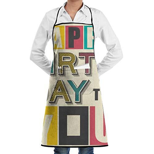 Gelukkige Verjaardag Papa Poster Keuken Bib Schort Schort Aprons Waterdrop Resistant Koken Bakken Crafting BBQ Voor Vrouwen Mannen Met Zakken Aangepast