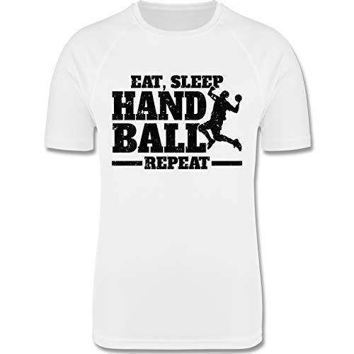 Sport Kind - Eat, Sleep Handball Repeat - schwarz - 104 (3/4 Jahre) - Weiß - Handball - F350K - atmungsaktives Laufshirt/Funktionsshirt für Mädchen und Jungen