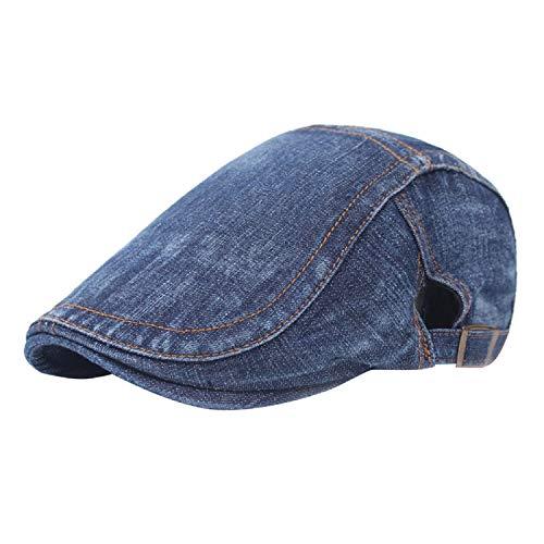 UMIPUBO Sombrero de Boina Vaquera Gorra de Béisbol con Visera Casquillo Vintage Sencilla Ocio al Aire Libre Sombrero del Sol Protector Cap (azulB)