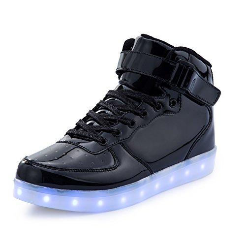 FLARUT 7 Farbe USB Aufladen LED Leuchtend Leuchtschuhe Blinkschuhe Sport Schuhe für Jungen Mädchen Kinder(36 EU,Schwarz)