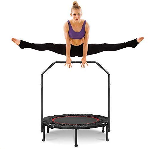 """ARCTICSCORPION 40"""" Mini Trampoline, Small Trampoline for Kids Adults, Foldable Fitness Rebounder with Safety Foam Handle Indoor Body Fitness Training Workouts Capacity 350LBS"""