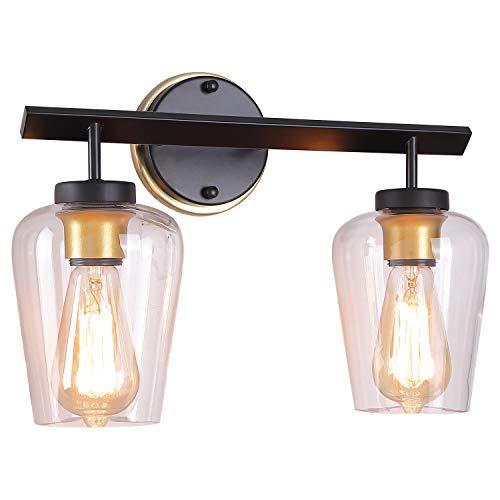 MWZ Lámpara de baño de 2 luces para cambiador, lámpara de pared para interior, lámpara de pared clásico, apliques de pared para pasillo, cambiador de maquillaje,...