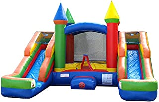 Inflatable Bounce House and Wet / Dry Double Bay Slide, 16-Foot Long by 15-Foot Wide, Crossover Rainbow Combo with Blower, Stakes, Repair Kit, and Storage Bag