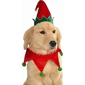 Elf chapeau et collier pour chien Pet Costume de Noël de Helper du Père Noël pour chiot ou chat