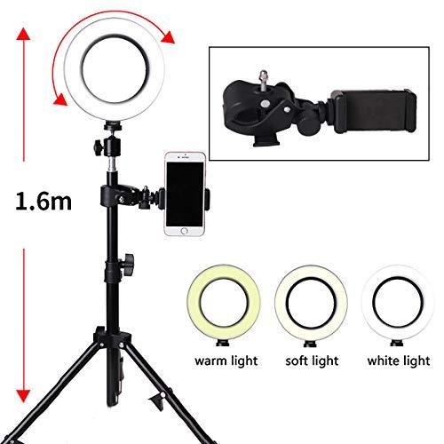JIAWEI Ring Fill Light - 160Cm Dimbare Makeup Vloerlamp met USB-oplaadkabel en statief - voor schieten en live streaming