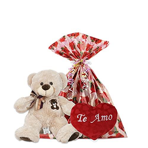 Kit Presentes Dia dos Namorados Urso e Coração de Pelúcia (Kit 1)