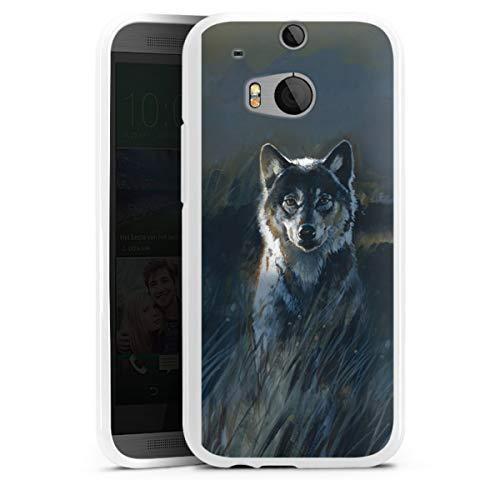 DeinDesign Silikon Hülle kompatibel mit HTC One M8 Hülle weiß Handyhülle Wolf Natur Malerei