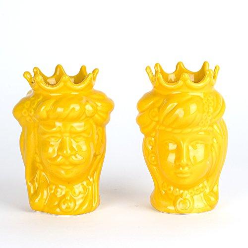 Lot de 2 têtes de Maure de Caltagirone jaunes faites à la main