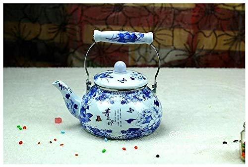 Bouilloire Emaillee Théière En Émail Bouilloire Épaissie Théière Universelle En Porcelaine Bleue Et Blanche 2,5L