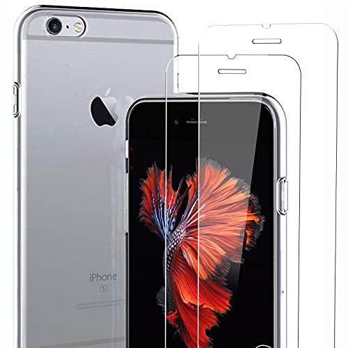 NEW'C Funda para iPhone 6 Plus/iPhone 6s Plus(5.5') Gel de TPU Suave de Silicona Transparente Alta y 2X Protector de Pantalla para iPhone 6 Plus/iPhone 6s Plus(5.5') Vidrio Templado - Antiarañazos
