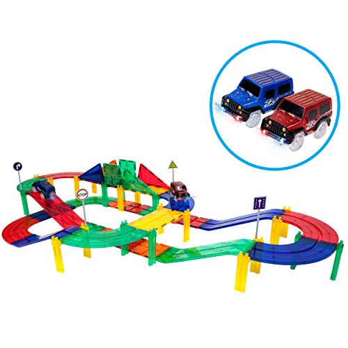 PicassoTiles 50 Piece Race Car Track Building Block Educational Toy Set Magnetic Tiles Magnet DIY Playset 2 Light Up Car STEM Learning Construction Kit Hand-Eye Coordination Fine Motor Skill Training