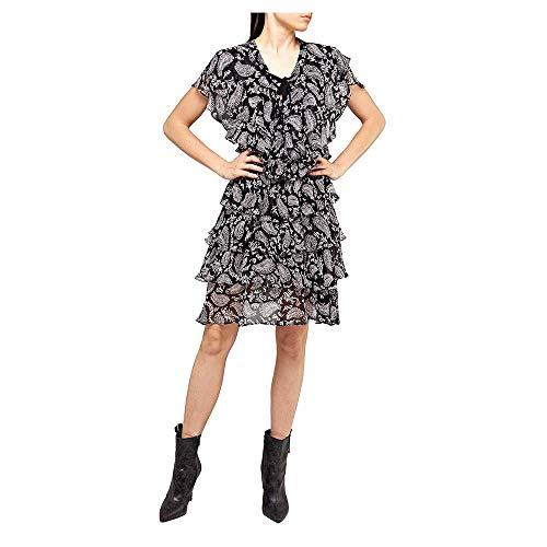 Replay Damen W9572 .000.72006 Partykleid, Mehrfarbig (Black-White 010), Large (Herstellergröße: L)