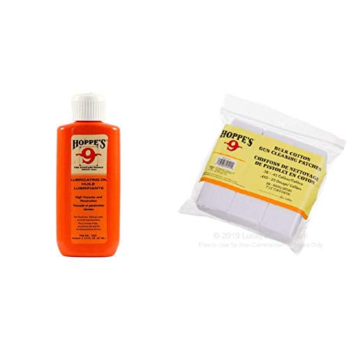 HOPPE'S No. 9 Lubricating Oil, 2-1/4 oz. Bottle and Gun Cleaning Patch.38-.45 Caliber/.410-20-Guage (500 Pack)