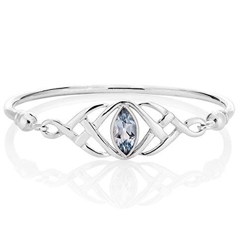 DTPsilver - 925 Sterling Silver Bangle/Bracelet - Trinity Knot - Celtic Collection - Blue Topaz