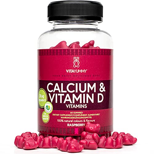 VITAYUMMY Gominolas masticables veganas con calcio y vitamina D sabor frambuesa | Mejoran el sistema inmune y la salud de los dientes y los huesos | Fabricadas en Alemania | 60 gominolas para un mes