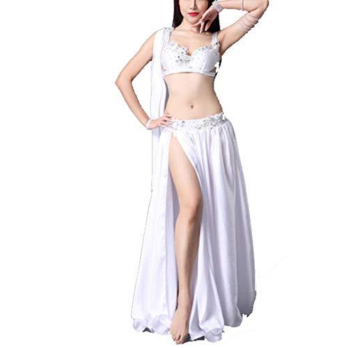 YBWEN Las Mujeres Ropa de la Danza Traje de Danza del Vientre for Mujer Borla Profesional Sujetador y cinturón de Danza del Vientre Falda de Baile de Carnaval Traje Atractivo Dancewear