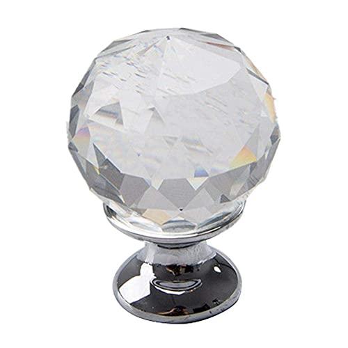 Tirador de armario de cristal de 10 piezas con tornillos, pomo de armario de cocina de cristal redondo, tirador de cajón de muebles de diamante transparente, 30 mm