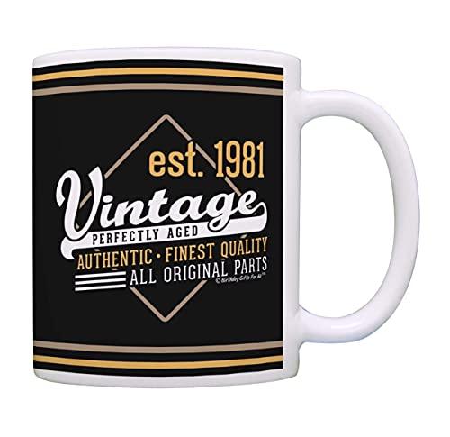 Taza de café con diseño de 40 cumpleaños vintage 1981 todas las piezas originales de cumpleaños taza de café Bday taza de té