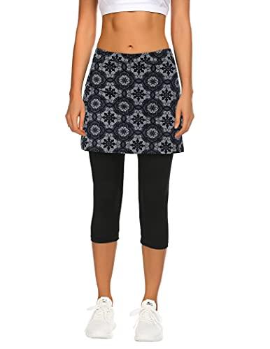 Balancora Falda de deporte para mujer, falda de tenis, hockey, ajustada, 3/4, pantalones de yoga con bolsillos y conexión para auriculares Patrón 1. S