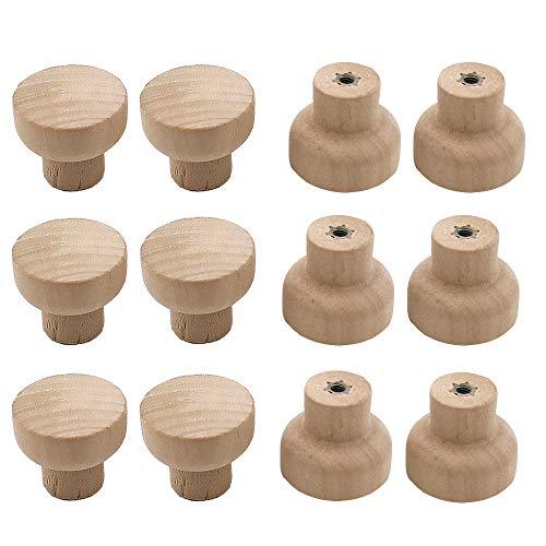 Dtoterul 12 pezzi Pomelli Legno Pomelli Cucina Pomelli per Mobili per Porte da Manopole Rotonde in Legno per Cassetti Naturale Pomelli per Manopole per Armadietti per Home Decor