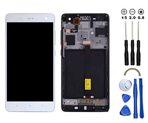 Snailcanfly Reemplazo Asamblea para Xiaomi Mi 4 Mi4 2014215 5.0inch Pantalla LCD Táctil Digitalizador Blanco con Marco