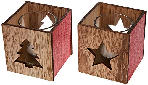Mopec - Portacandela in Legno Sagomato con Motivi Natalizi, Include Bicchiere e Candela, 7,5 x 8 cm