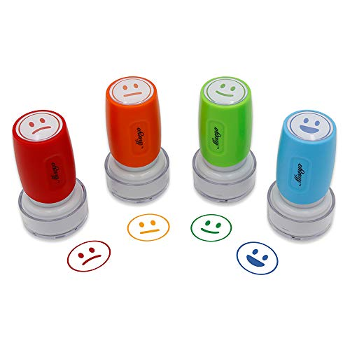 Miseyo Pre-Ink Teacher Stamp Set - 4 Color Mood Expressions