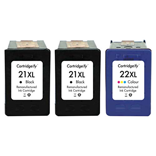 Cartridgeify 21 22 XL Compatible con HP 21XL 22XL Cartuchos de Tinta, para HP Deskjet 3940 D1530 D2360 D2460 F380 F2180 F2224 F4180, Officejet 4315, PSC 1412