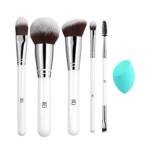 T4B ILU Everyday Essentials Set 6 Pcs Pinceaux De Maquillage Avec 1 Eponge A Maquillage Turquoise