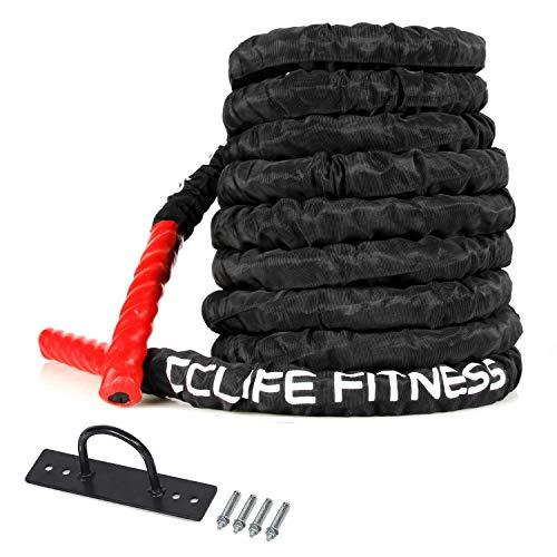 CCLIFE Battle Ropes Fune di Allenamento Battaglia Corda Fitness Crossfit Fitness Training Rope Casa e Palestra Battle Rope 9/12/15M, Dimensione:9m con Copertura Protettiva Nera e Supporto