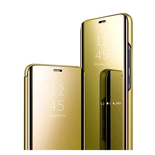Funda para Huawei P30 Lite, Clear View Standing Cover Huawei P30 Lite para niñas, funda con tapa, caja de maquillaje, espejo, funda de poliuretano con función atril para Huawei P30 Lite. dorado Medium