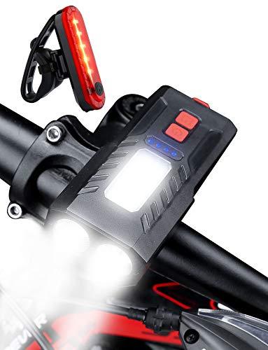 Guijiyi Luci Bicicletta LED, 4000mAH Luce Bici Anteriore e Posteriore Ricaricabile USB Super Luminoso Luci Bicicletta Impermeabile con Fanale Posteriore &Display di Alimentazione e Spia di Avvertenza
