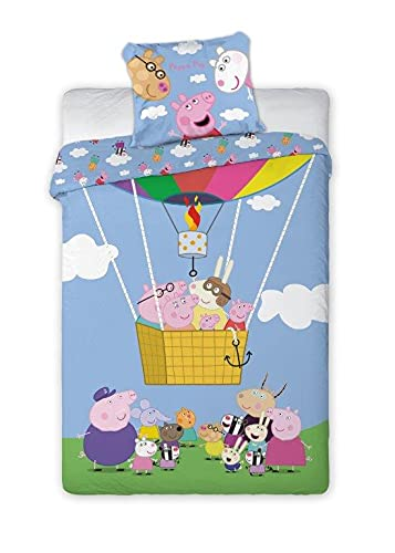 Peppa George - Juego de cama (algodón, 160 x 200 cm y 70 x 80 cm)