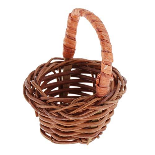 SM SunniMix Miniatur Rattankorb Einkaufskorb Picknickkorb Tragekorb für 1/12 Puppenhaus Puppenstube