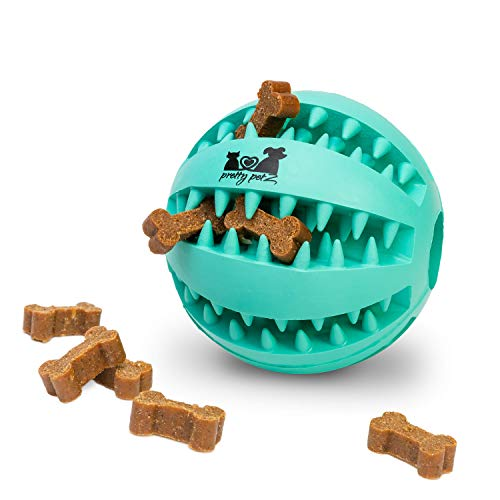 pretty petZ® Hundeball mit Zahnpflege-Funktion Noppen aus Naturkautschuk | Robuster Hunde Ball Ø 7cm | Hundespielball für Große & Kleine Hunde | Kauspielzeug aus Naturgummi für Leckerli