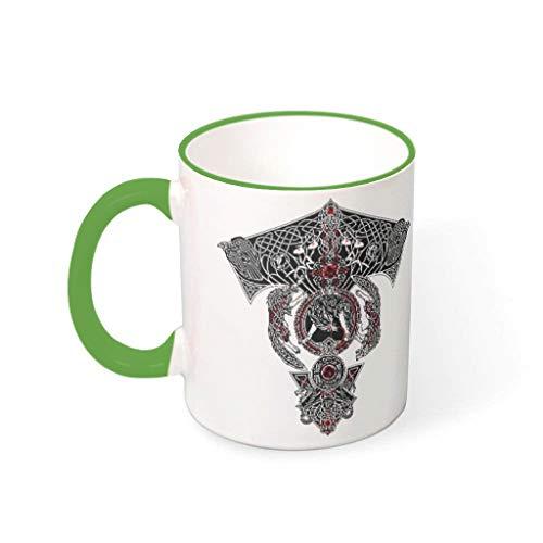Taza de café con tatuaje de lobo vikingo, de cerámica, retro, moderna, para exteriores, 330 ml