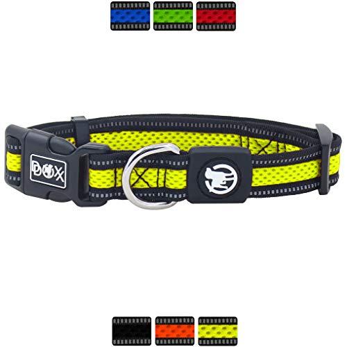 DDOXX Hundehalsband Air Mesh, reflektierend, verstellbar, gepolstert | viele Farben & Größen | für kleine & große Hunde | Halsband Hund Katze Welpe | Hunde-Halsbänder | Katzen-Halsband | Gelb, M