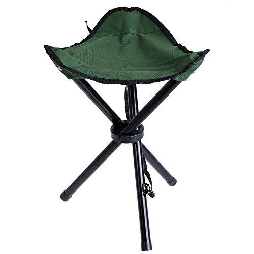TOPIND Tragbarer Dreibein-Hocker mit Dreibein-Stativ, zusammenklappbar, tragbar, für Picknick, Wandern, Spiele, Garten, Fotografie, Sport, grün