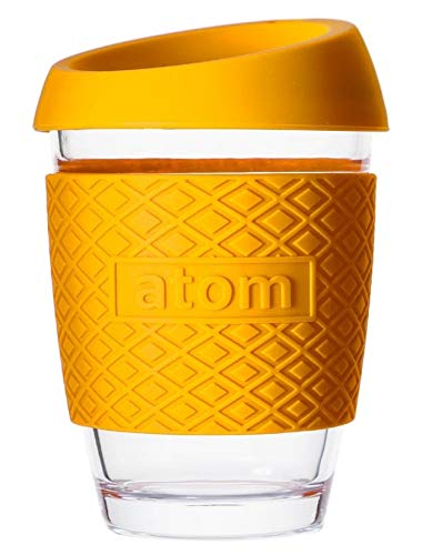 atom products - Reusable Coffee Cup/Travel Mug with lid – Thickened Sleeve & Borosilicate Glass (Yellow)
