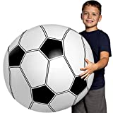 Large Beach Ball for Kids: Best Soccer Ball Giant Beach Balls for Pool. Easy Blow Up Big Inflatable Beachball. Fun Water Toys & Kid Party Favor for Boys & Girls Summer Birthday Parties & Outdoor Games