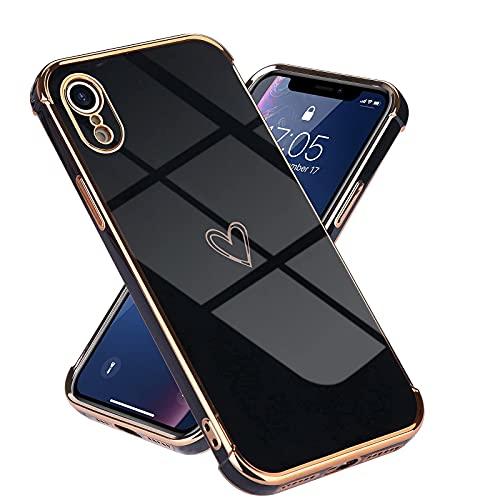 Micoden Kompatibel mit iPhone Xr Hülle,Cute Herz Mädchen Weich Silikon TPU Galvanisierte Handyhülle Ultra Dünn Stoßfeste Schutzhülle Bumper Hülle für Apple iPhone Xr,schwarz