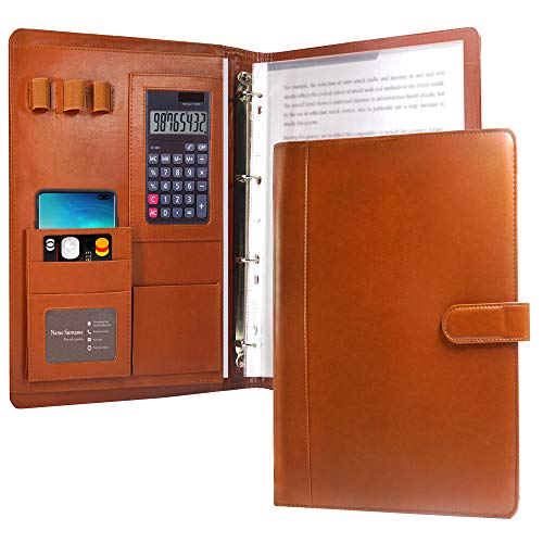 Multifunctional Leather Portfolio Folder, KUAO Professional A4...