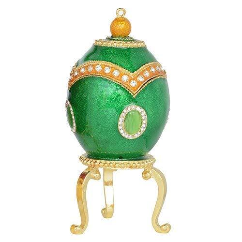 El joyero tiene una forma novedosa y única, un dis Caja de joyería huevo de pascua trinket joyería caja de anillo collar collar contenedor artesanía metal decoración del hogar huevo de pascua novedad