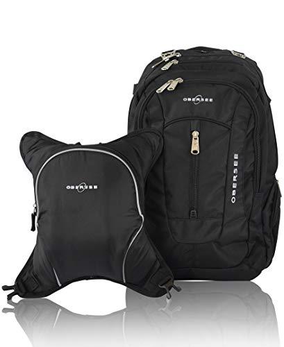 Obersee Bern Diaper Bag Backpack & Cooler, Black/Black
