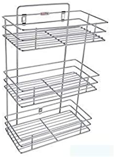 House Tools 3 Layer Stainless Steel Kitchen Organizer,Bathroom Rack,Shelves with Big Size & Kitchen Shelf wall Holder for ...