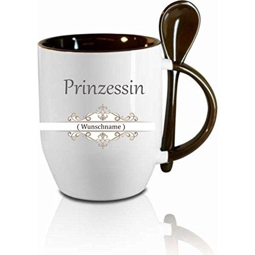 Creativ Deluxe Tasse m. Löffel Prinzessin Wunschname Löffeltasse, Kaffeetasse mit Motiv,Bürotasse, Bedruckte Tasse mit Sprüchen oder Bildern - auch individuelle Gestaltung nach Kundenwunsch