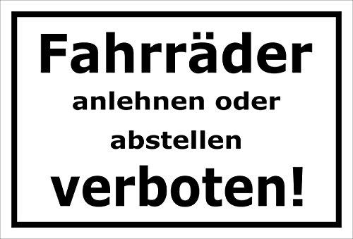 Melis Folienwerkstatt Schild - Fahrräder abstellen - 30x20cm | Bohrlöcher | 3mm Aluverbund – S00050-046-A -20 Varianten