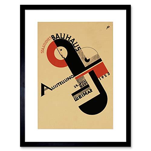 The Art Stop Exhibition Bauhaus Weimar ICON Germany Vintage Retro Advert Framed Print B12X708