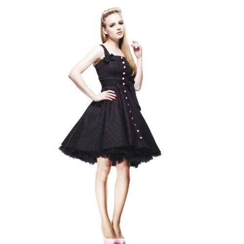 Licht Bunny - Rockabilly jurk Gery 50s jurk zonder petticoat zwart/roze (XS-XL)